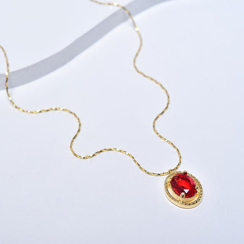 Red Necklace, Yellow Gold Plated Necklace, Classic Necklace, Cubic Zirconia Gemstone, Red Gemstone Pendant, Red Pendant