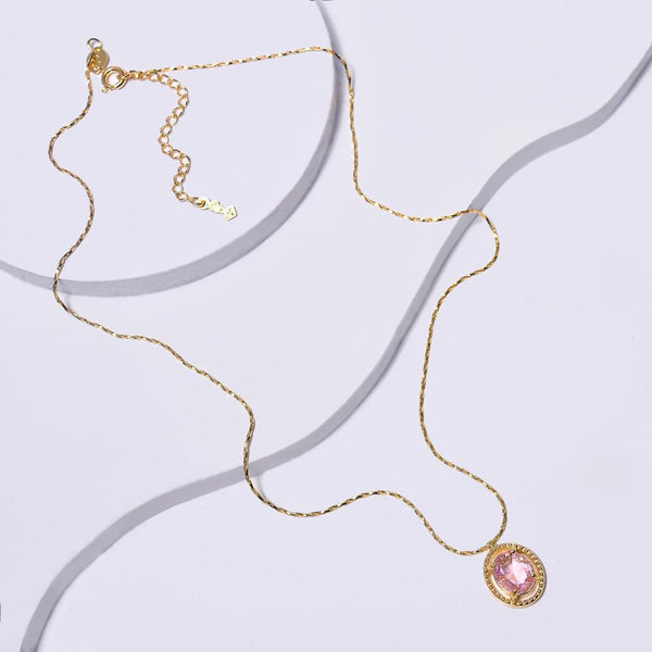 Pink Necklace in Yellow Gold Filled with Cubic Zirconia Gemstone Pendant