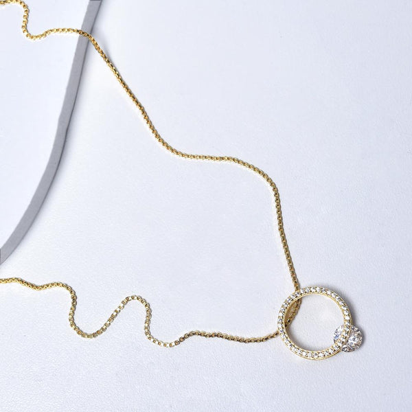 Circle Necklace in Yellow Gold Plated with Cubic Zirconia Gemstones