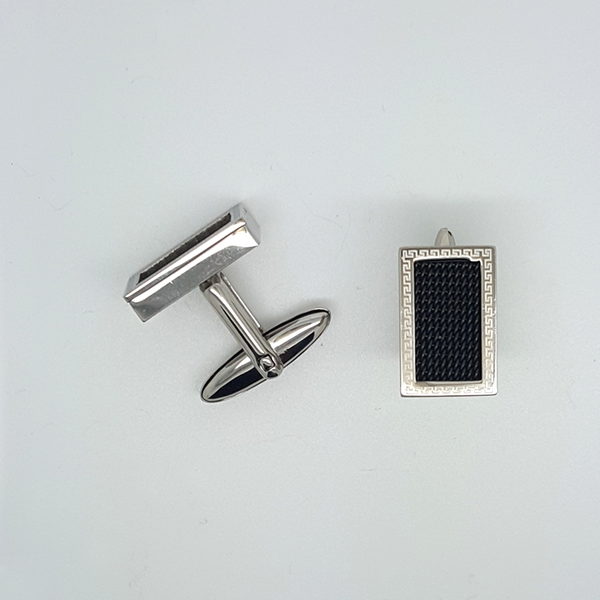 Black Cufflinks Greek Key in Stainless Steel
