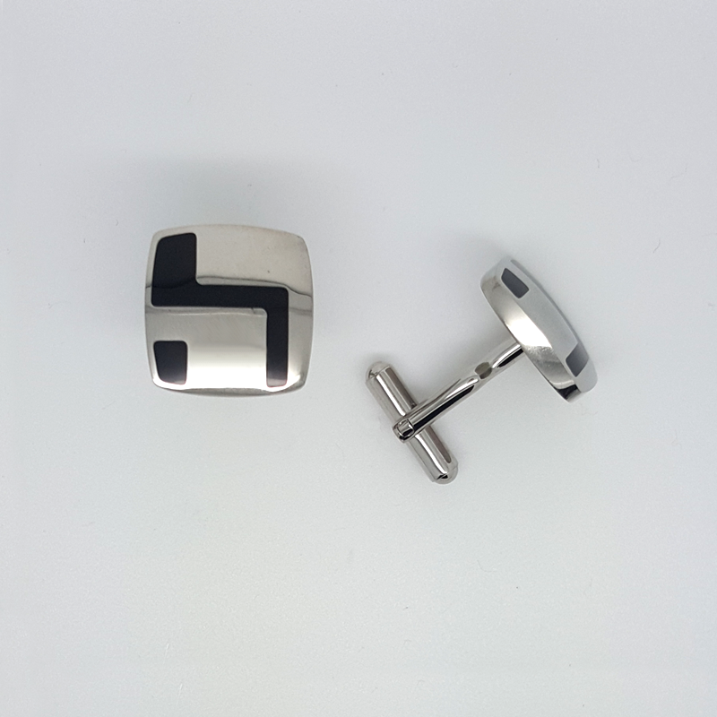 Square Cufflinks Black Enamel in Stainless Steel