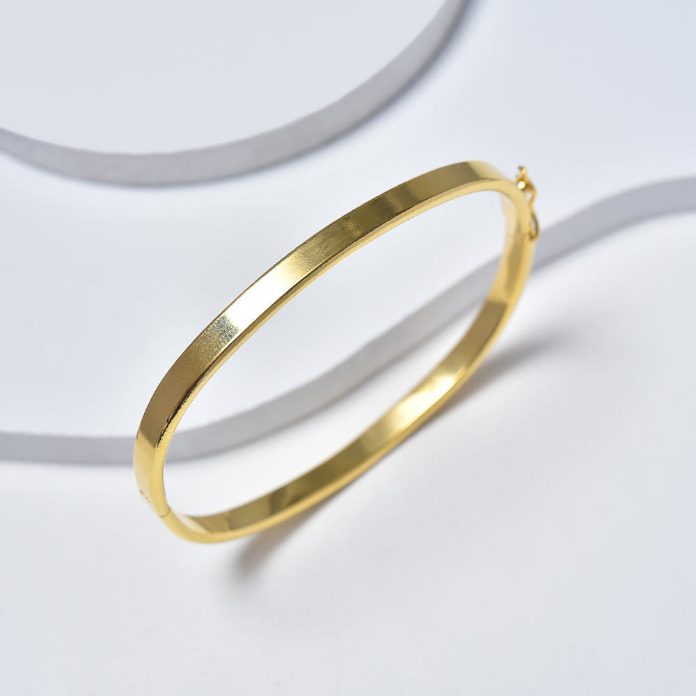 bracelet bangles image gold hinged jewellery flat bangle plain yellow bracelets hollow