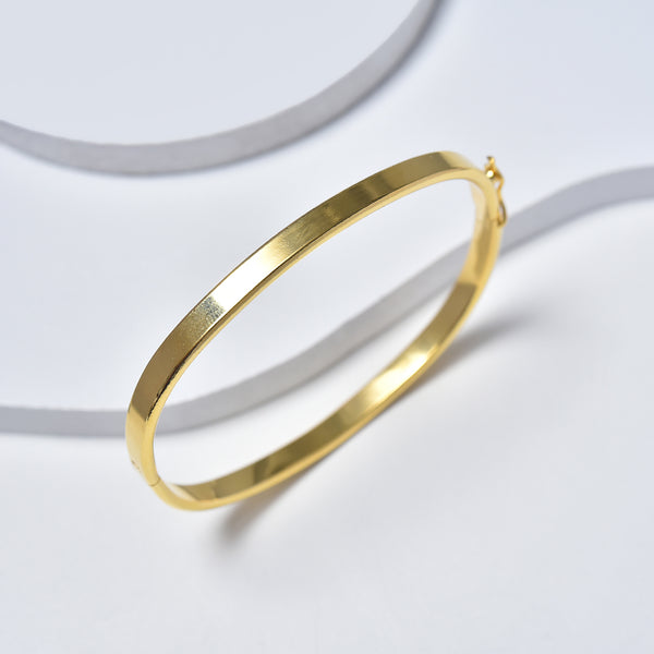 Hinged Bangle fo Women, Yellow Gold Filled Plain Bracelet for Girls 65mm