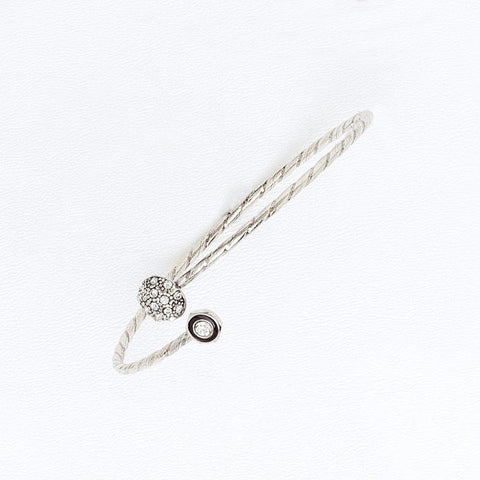 Half Fireball Bracelet for Women in White Gold Filled, Cubic Zirconia and Enamel, Cuff Sizable