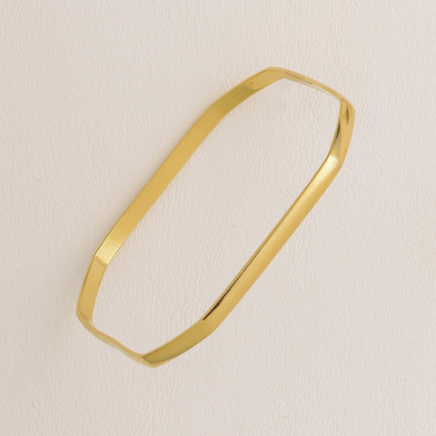Octogonal Plain Bangle Bracelet in Yellow Gold Filled