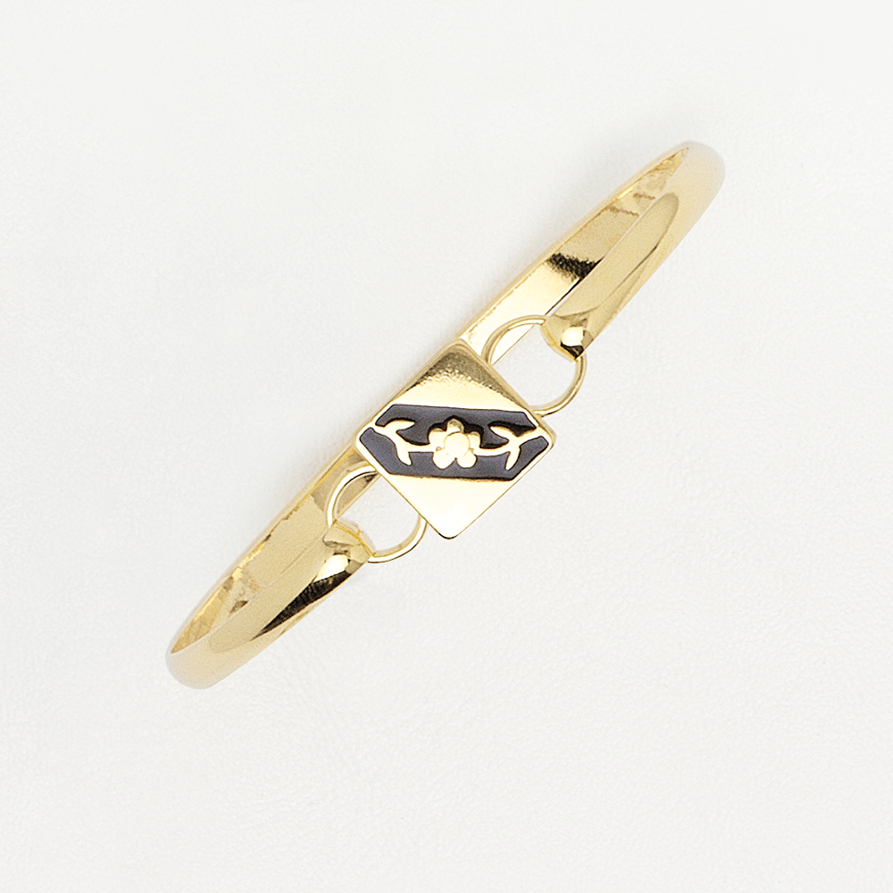 Flower Bracelet in Yellow Gold Filled with Black Enamel