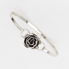 Rose Cuff Bracelet in White Gold Filled
