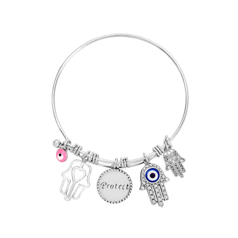 Hamsa Hand Bracelet for Women with Evil Eye Charm for Protection and Hand of Fatima Pendants in White Gold