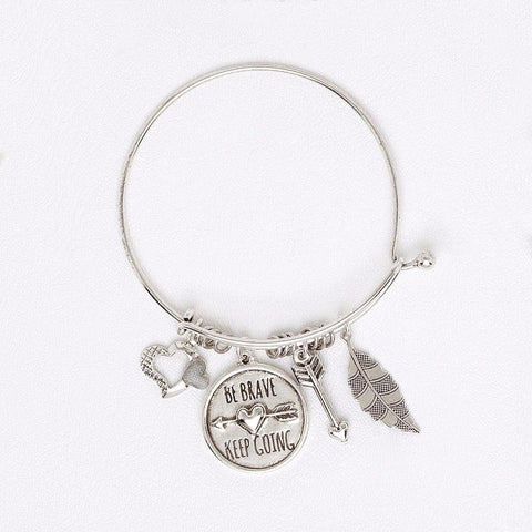White Gold Bracelet for Women with Charms, Adjustable Bangle with Pendants