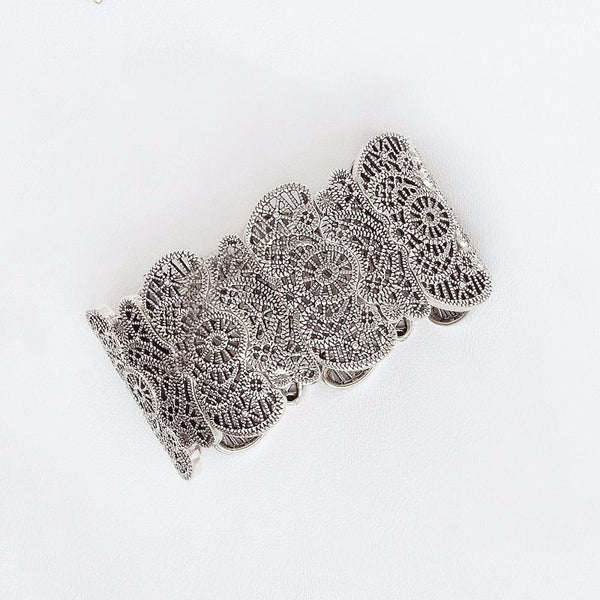 Filigree Elastic Bracelet in Aged White Gold Filled