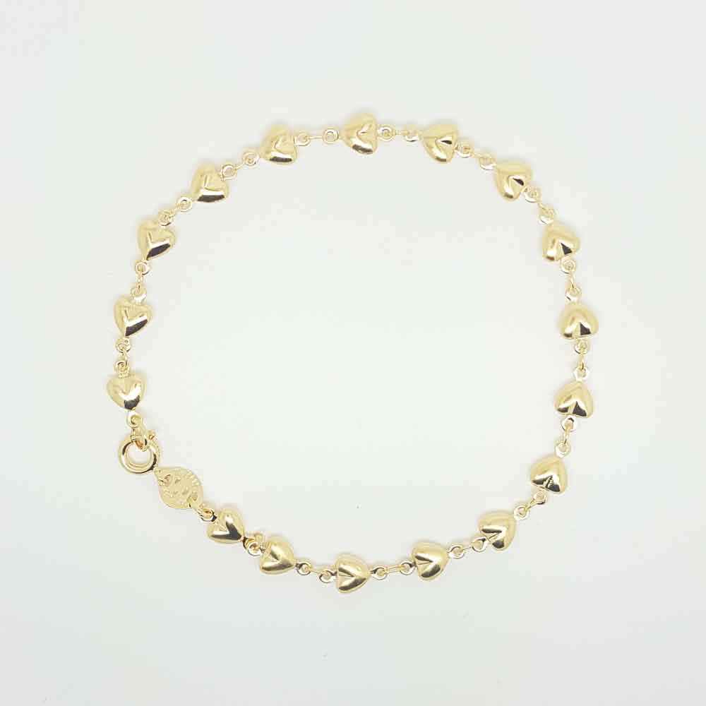 Hearts Chain Bracelet in Gold Color Metal