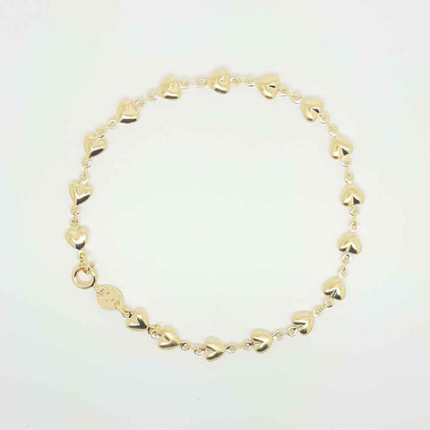 Hearts Chain Bracelet in Yellow Gold Filled