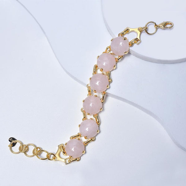 Rose Bracelet in Yellow Gold Filled with Quartz Gemtones