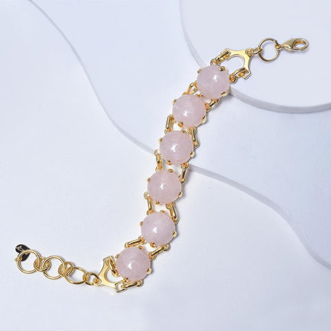 Rose Bracelet in Yellow Gold Plated with Quartz Gemtones