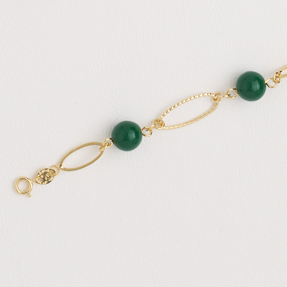 Link & Green Beads Bracelet in Yellow Gold Filled