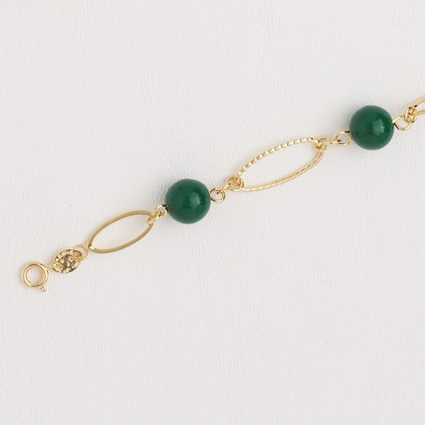Chain Bracelet with Green Beads in Yellow Gold Filled