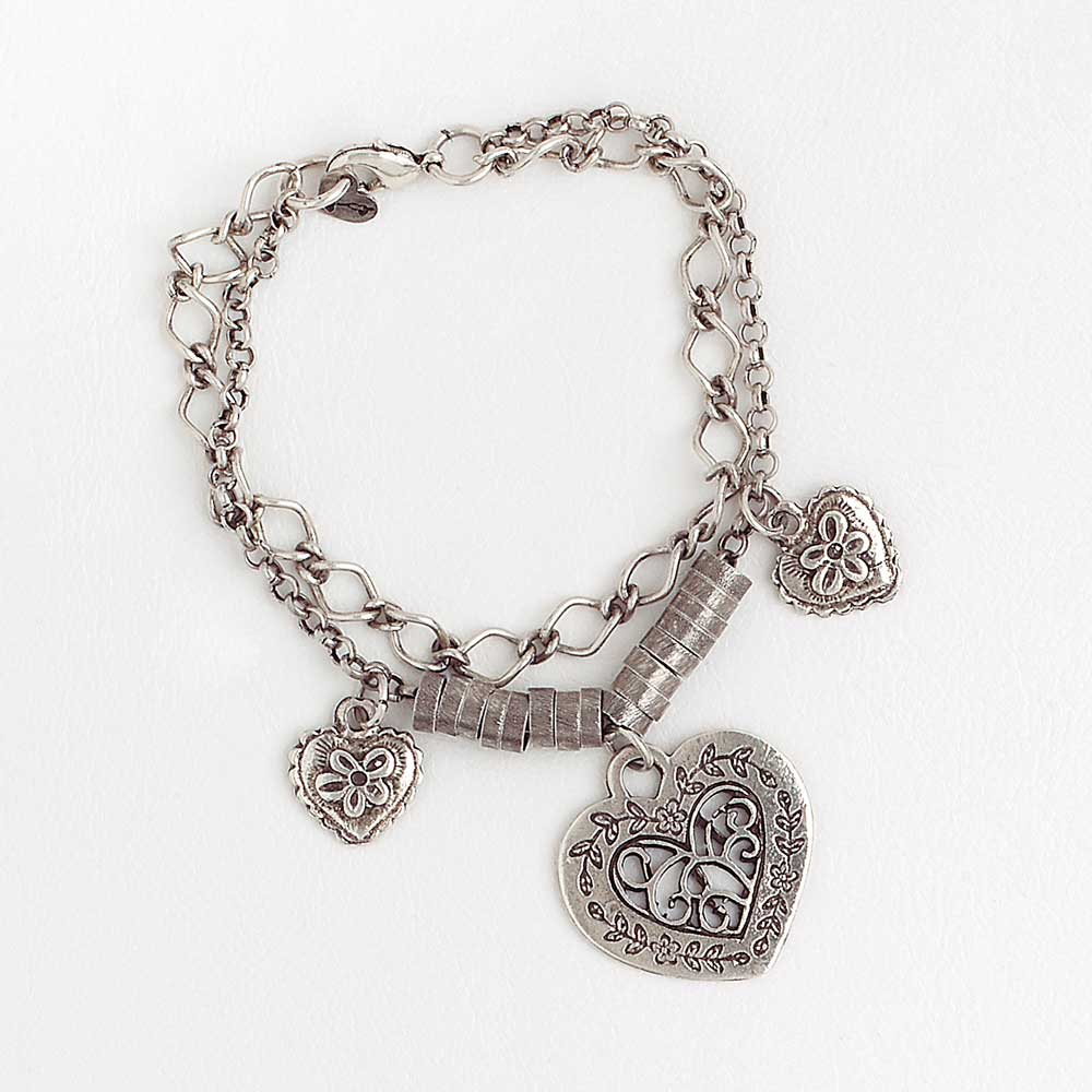 White Gold Filled Chain Bracelet for Women with Hearts Pendants