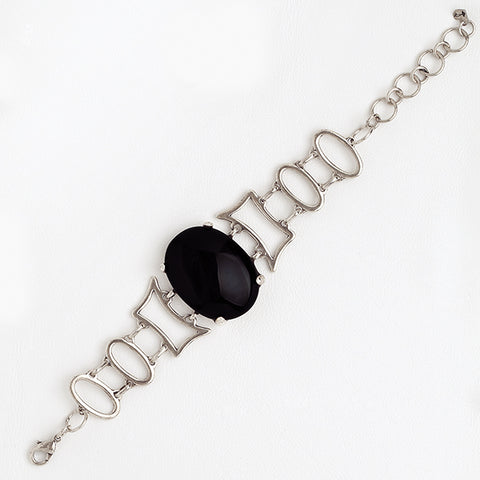 Chain Big Black Gemstones 14k White Gold Filled Bracelet
