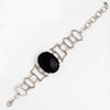 White Gold Filled Bracelet for Women with Black Agate Stone, Bohemian Jewelry