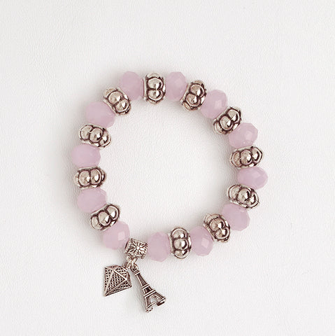 Elastic Bracelet in Rose Quartz Beads with Diamond & Eiffel Tower Pendants