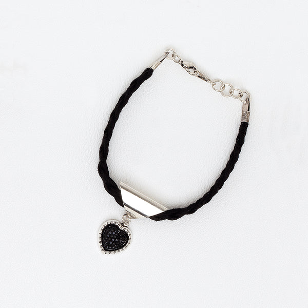 Braided Bracelet Heart in White Gold Filled with Druzy Pendant