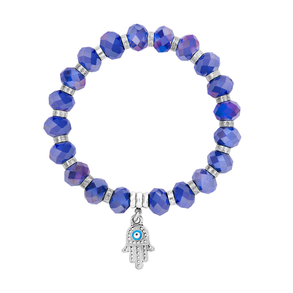 Hamsa Hand of Fatima Bracelet for Women and Girls with Evil Eye, Stretch Bangle with 10mm Purple Real Cubic Zirconia Beads