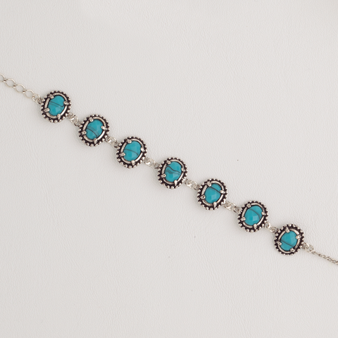 Bracelet in White Gold Filled with Turquoise Gemstones