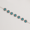 White Gold Filled Bracelet with Natural Turquoise Stones, Oval Link Chain for Women