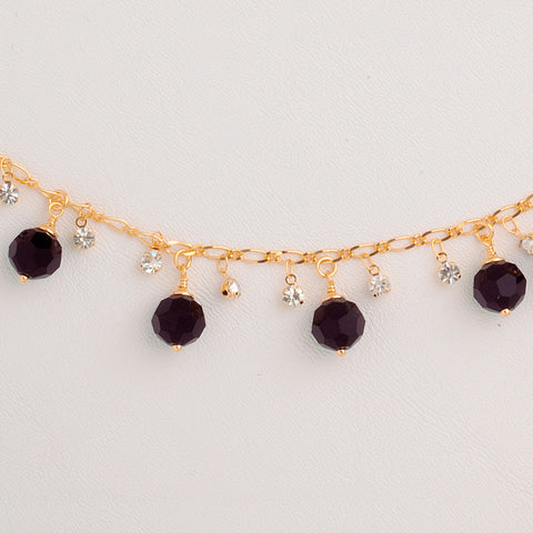 Bracelet in Yellow Gold Filled with Black & Clear Gemstones