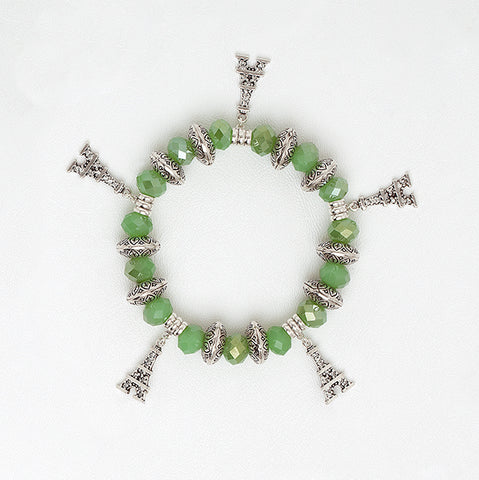 Elastic Bracelet in Green Zircon Beads with Eiffel Tower Pendants