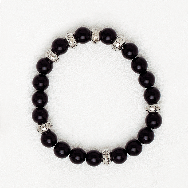 Elastic Bracelet with Black & Silver Beads