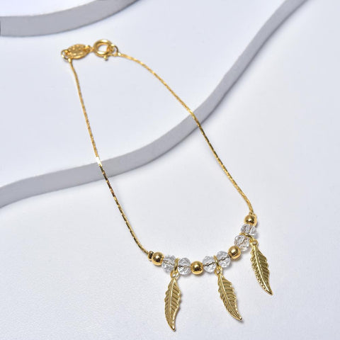 14k Yellow Gold Bracelet for Women with Feathers Pendants and Beads