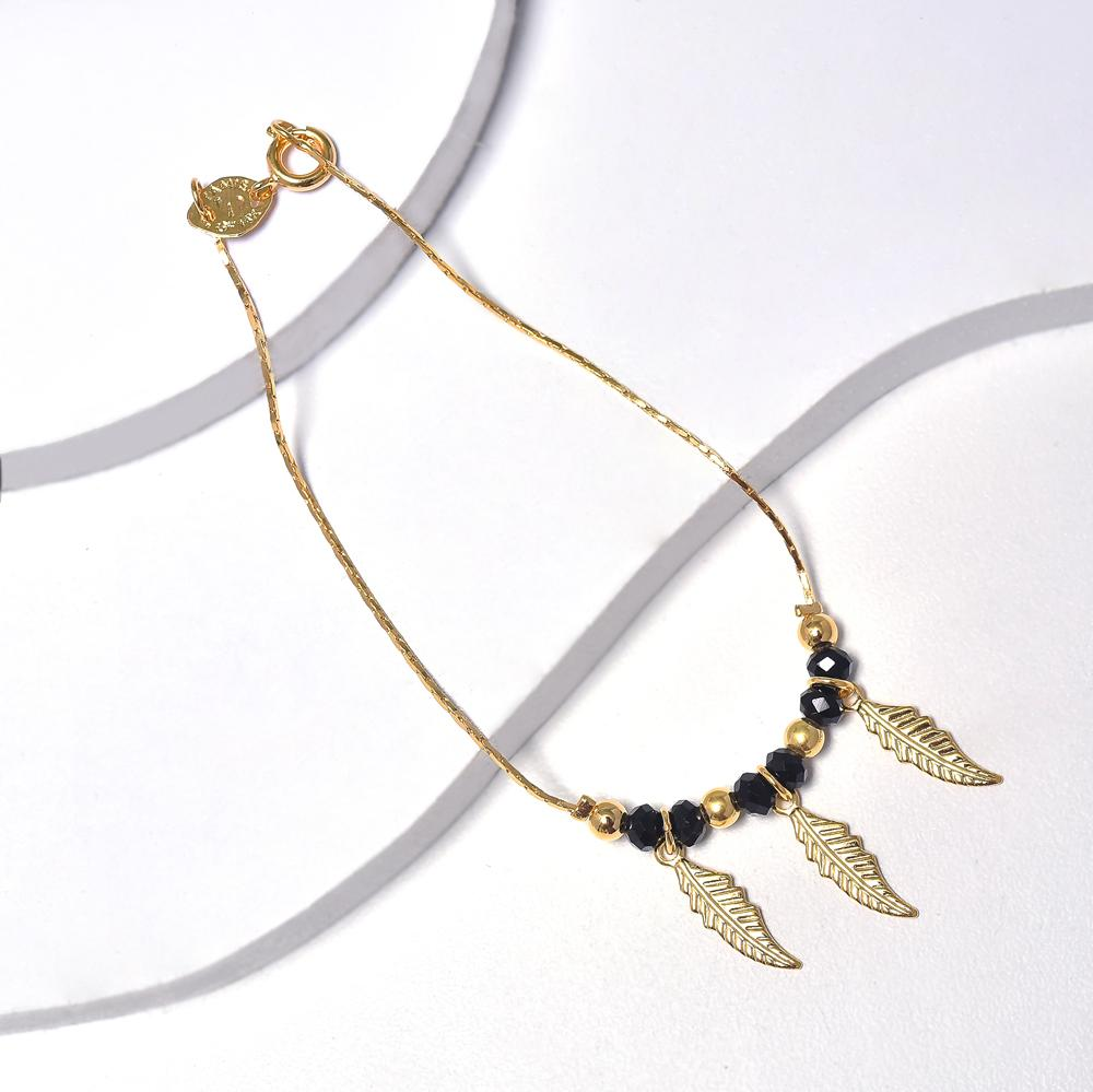 Feathers Bracelet for Women in Yellow Gold Filled with Black Cubic Zirconia Beads