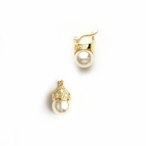 Lady Di Earrings in Yellow Gold Filled, Pearl & Gemstones