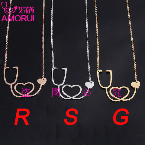 Stethoscope Heart Chain Necklace Jewelry