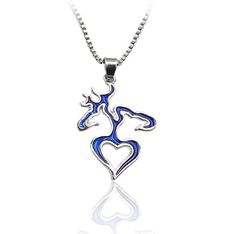Blue Buck and Doe Heart Pendant Necklace