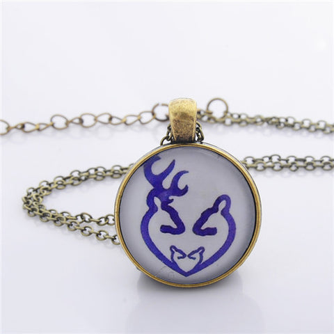 Buck And Doe Heart Pendant Necklace