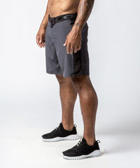 Men's Gray Functional Fitness Short with Adjustable Waistband - Left View