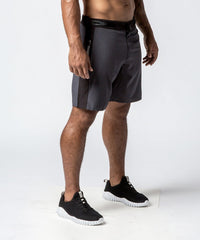 Men's Gray Functional Fitness Short with Adjustable Waistband - Right View