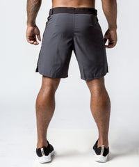Men's Gray Functional Fitness Short with Adjustable Waistband - Back View