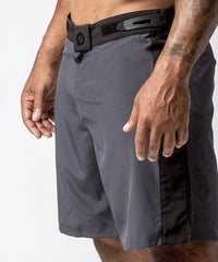 Men's Gray Functional Fitness Short with Adjustable Waistband - Detail View