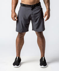 Men's Gray Functional Fitness Short with Adjustable Waistband - Front View