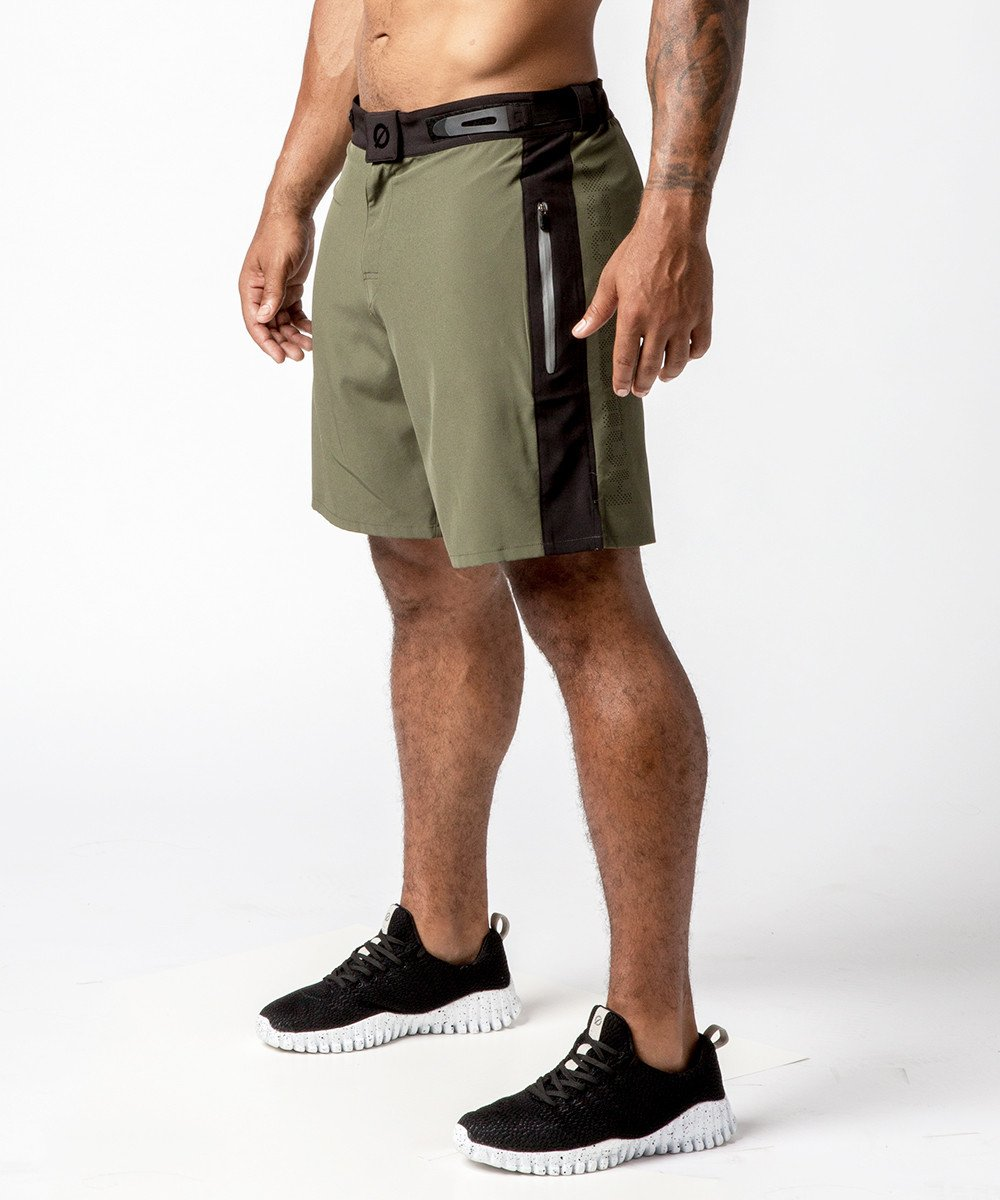 Men's Green Functional Fitness Short with Adjustable Waistband - Left View