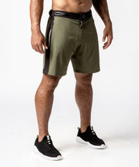 Men's Green Functional Fitness Short with Adjustable Waistband - Right View