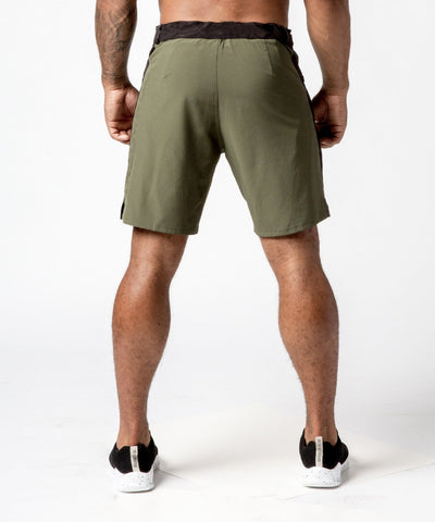 Men's Green Functional Fitness Short with Adjustable Waistband - Back View