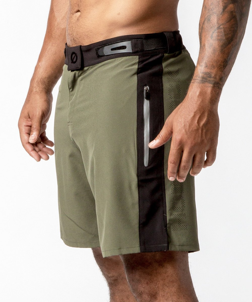 Men's Green Functional Fitness Short with Adjustable Waistband - Detail View