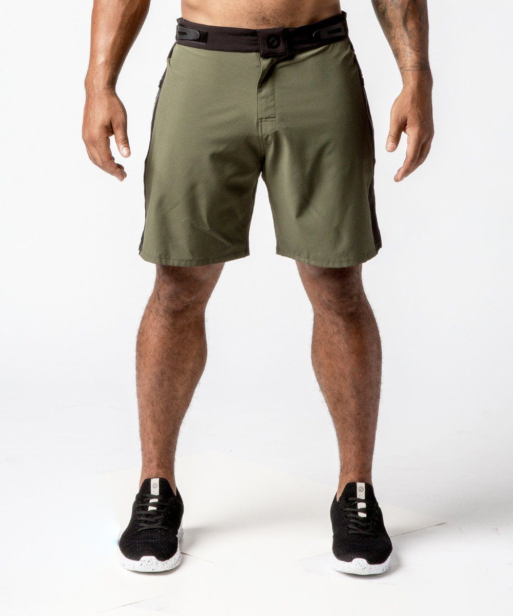 Men's Green Functional Fitness Short with Adjustable Waistband - Front View