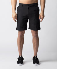 Black, hybrid chino shorts designed for leisure and for sport.  The short sits above the knee and is constructed with 4-way stretch material allowing for greater mobility.