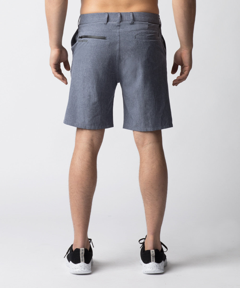 Blue-Grey, hybrid chino shorts designed for casual and fitness wear.  Constructed with 4-way stretch material allowing for greater mobility.