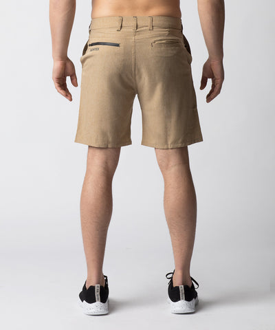 Sand, hybrid chino shorts designed with function and comfort in mind.  Constructed with 4-way stretch material, the short sits above the knee allowing for greater mobility.